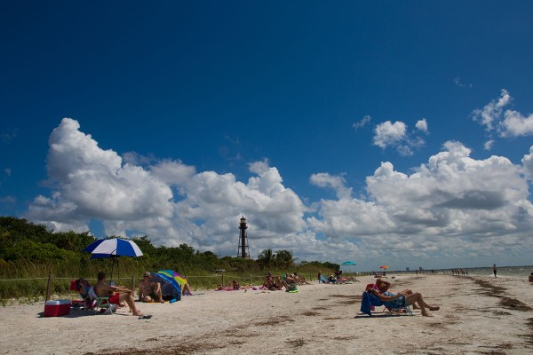 people on Sanibel's lighthouse beach