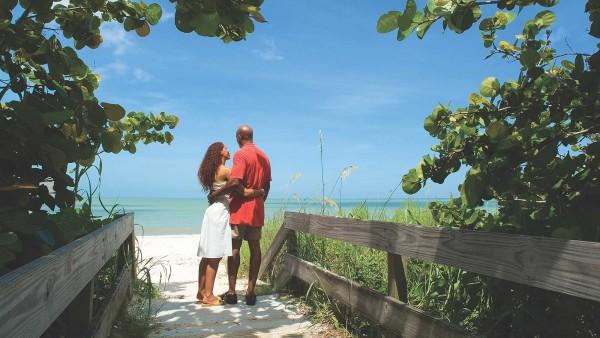 Couple in a romantic beach setting