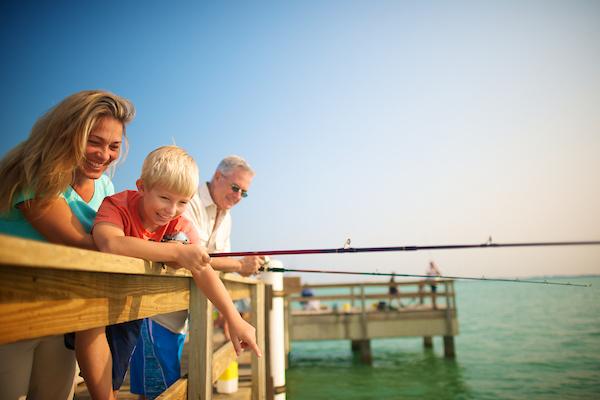 people on sanibel fishing pier